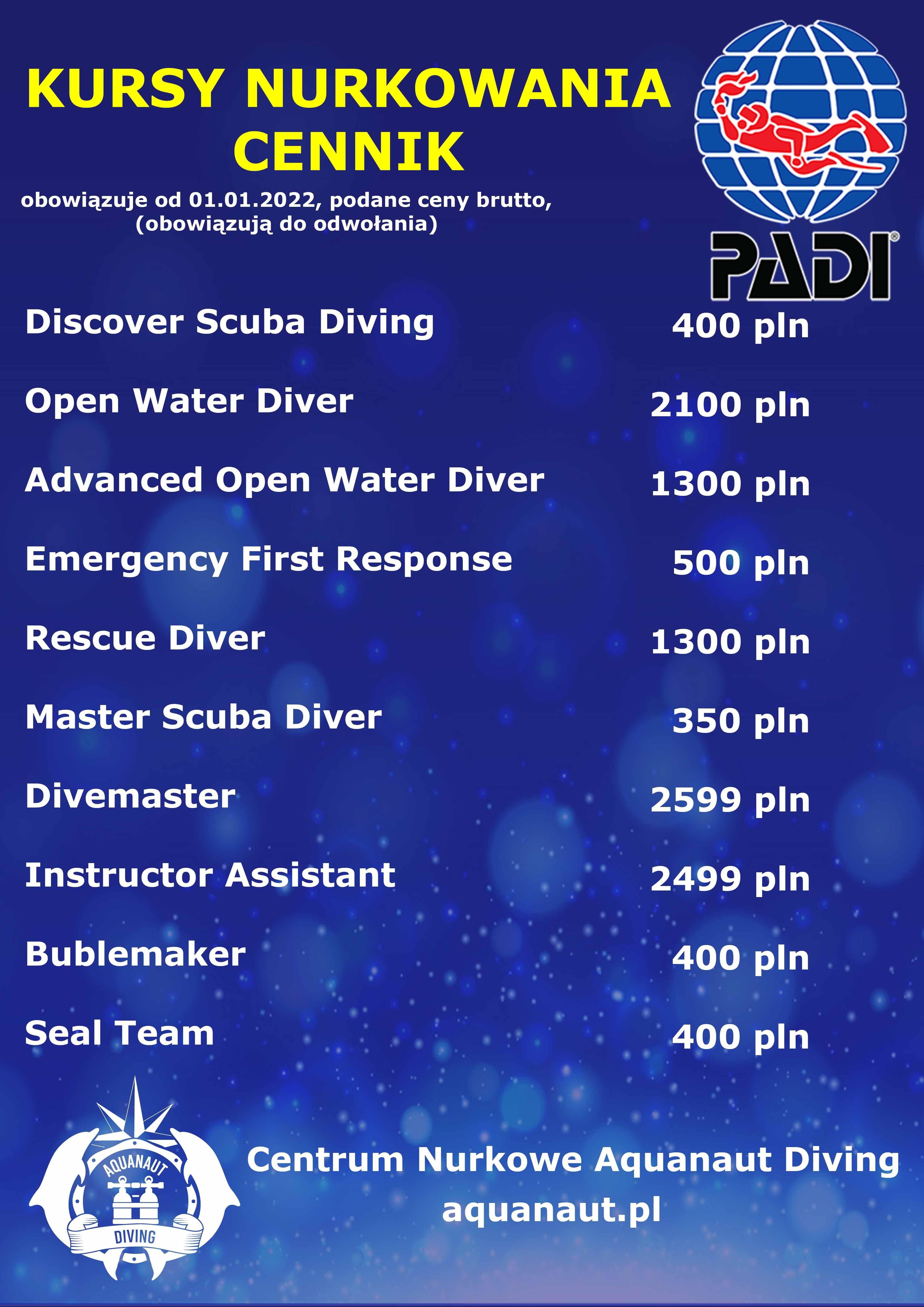 kursy nurkowania cena