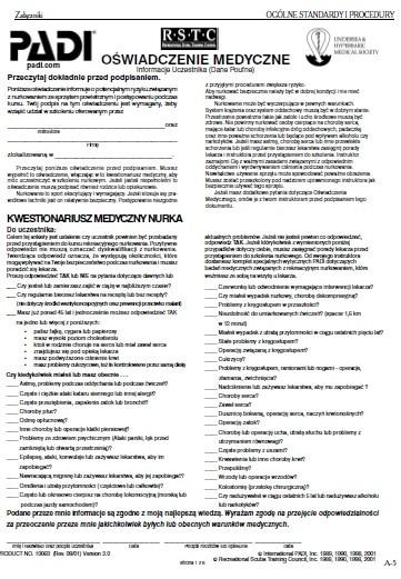 jak nauczyć się nurkować - formularz medyczny